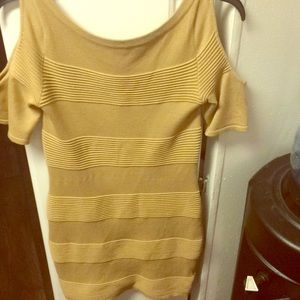 Mustard Yellow stretchy dress with open shoulders